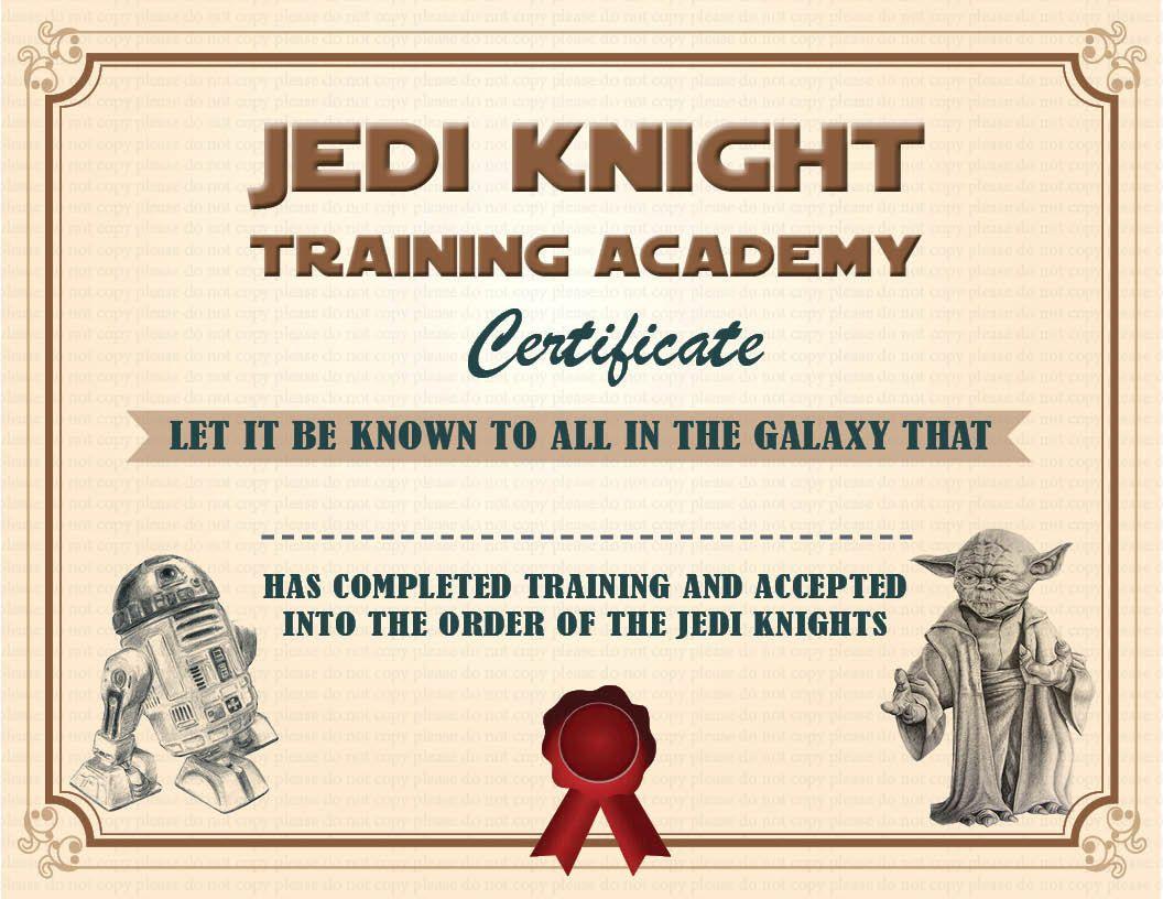 instant dl jedi knight certificate star wars birthday party printable not personalized jedi knight star wars birthday and star