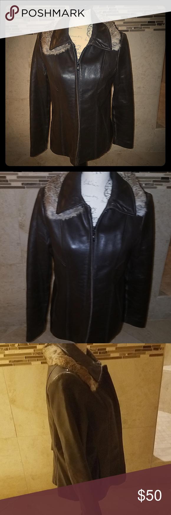 Jones New York Leather Jacket With Fur Collar Fur Leather Jacket Leather Jacket Clothes Design