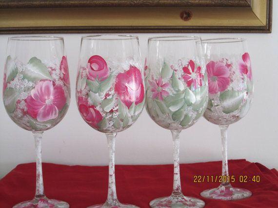 Wine Glasses hand painted floral design dark by ingeborgsorgent