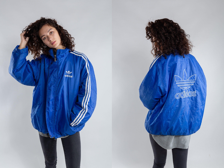 Blue Oversized Bootleg Adidas Bomber Jacket Vintage Padded Etsy Bomber Jacket Vintage Adidas Bomber Jacket Sports Jackets Women