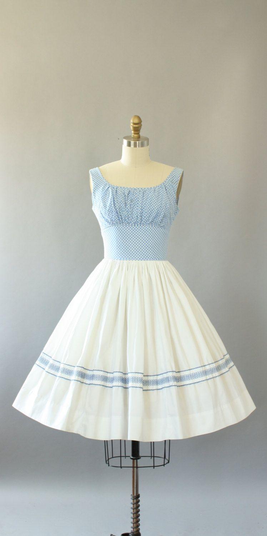 Vintage 50s Dress/ 1950s Cotton Dress/ Blue Gingham Print Cotton ...