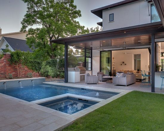 Contemporary backyard open patio small pool valle for Landscaping ideas for pool areas