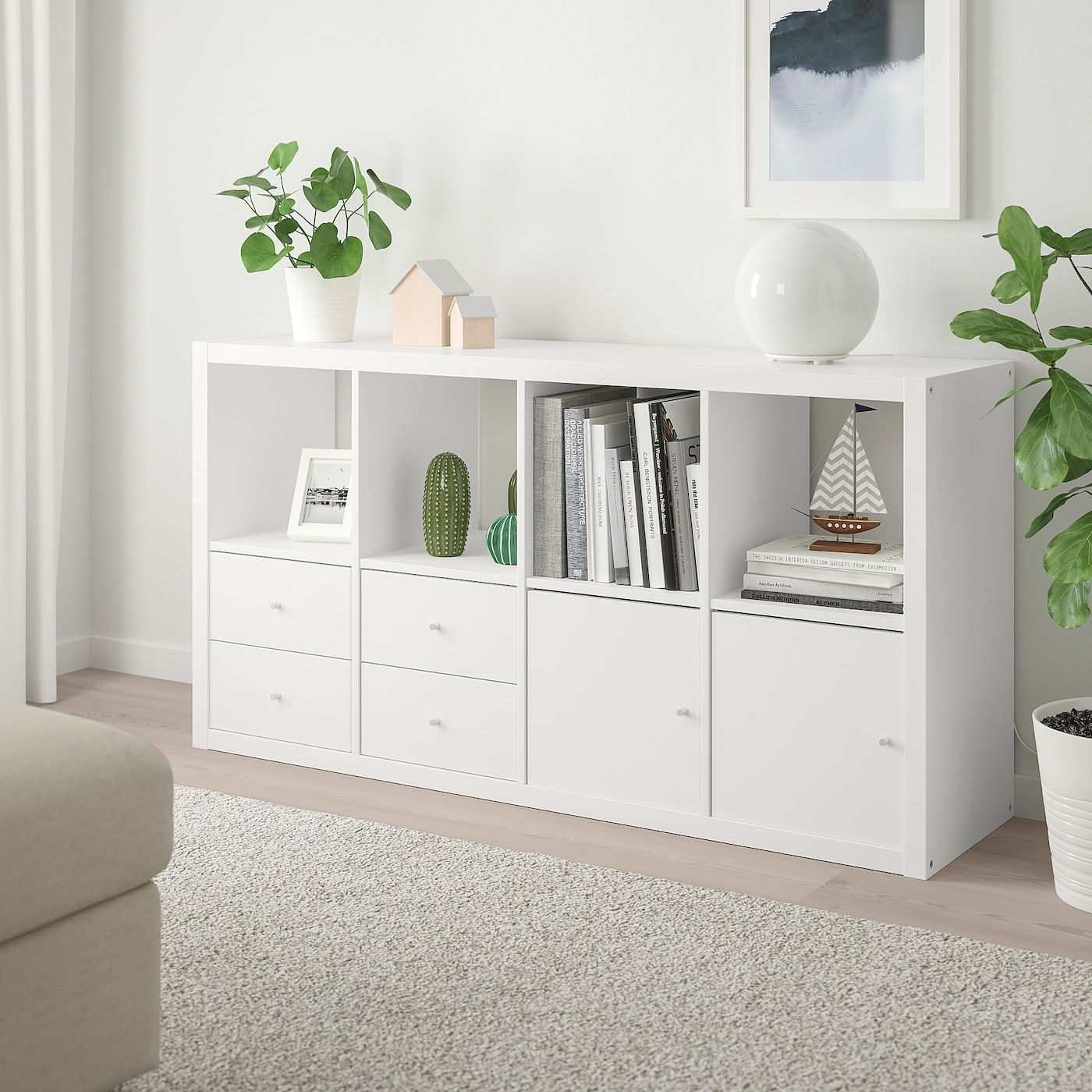 KALLAX Shelf unit with 4 inserts, white, 303/8×577/8″ – IKEA