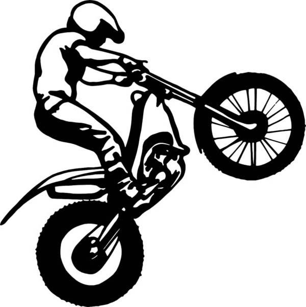 Dirt Bike Dirt Bike Rider Popping A Wheelie Coloring Page