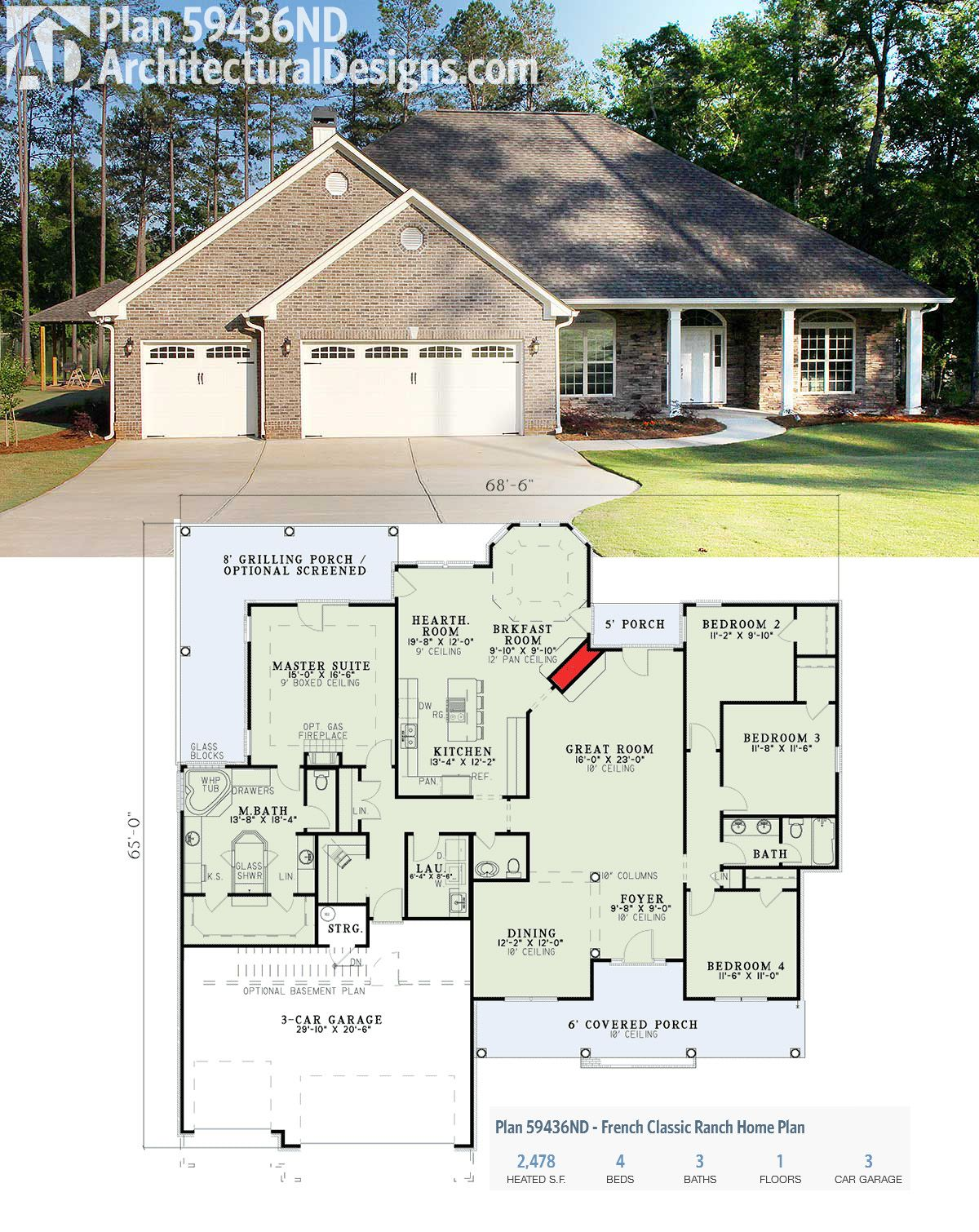 Plan 59436nd french classic ranch home plan for Classic ranch homes