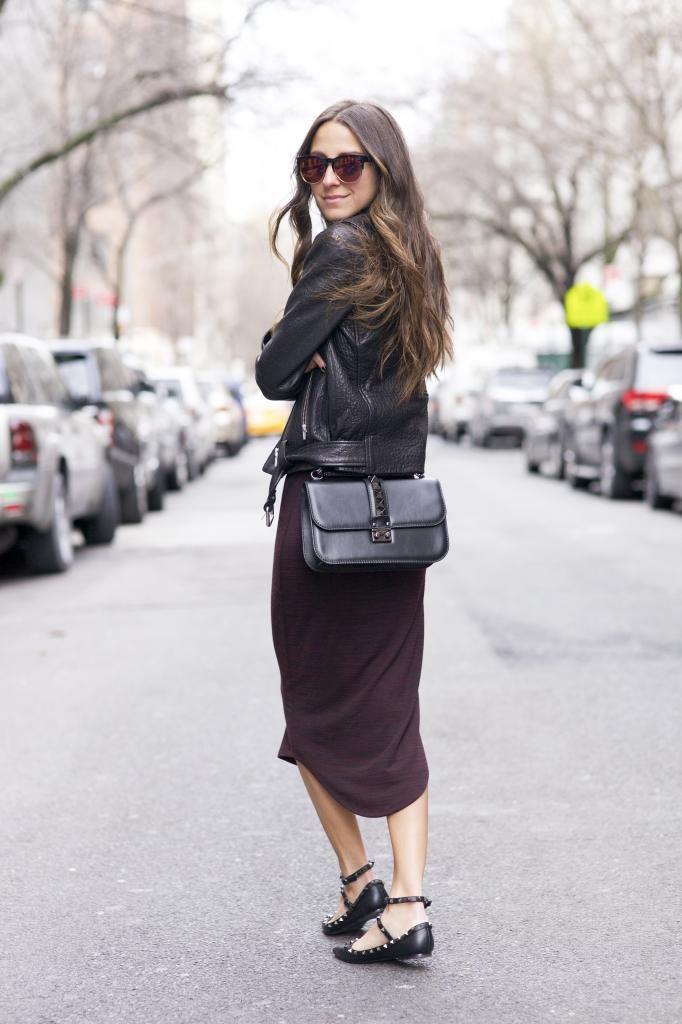 Fashion blogger Arielle Nachmani of Something Navy in a RD Style dress, Valentino  shoes and