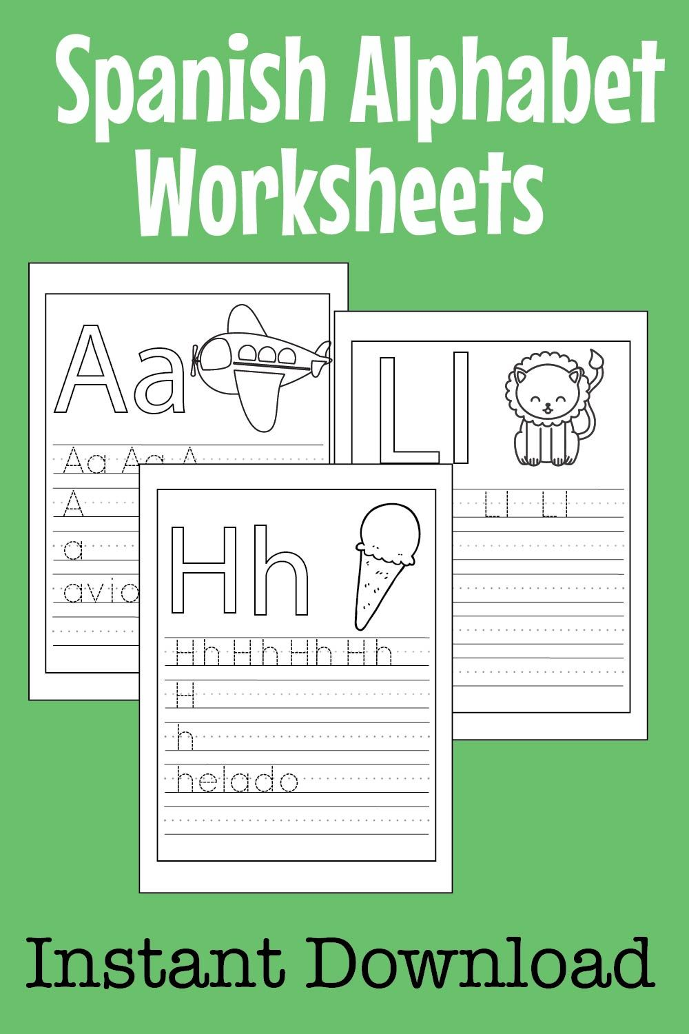 Spanish Abc Worksheets For Kids Preschool Kindergarten Etsy Abc Worksheets Alphabet Worksheets Preschool Letters