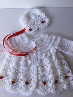 Baby girl sweater, hat, newborn girl sweater, white sweater and hat, baby gift #vestidosparabebédeganchillo