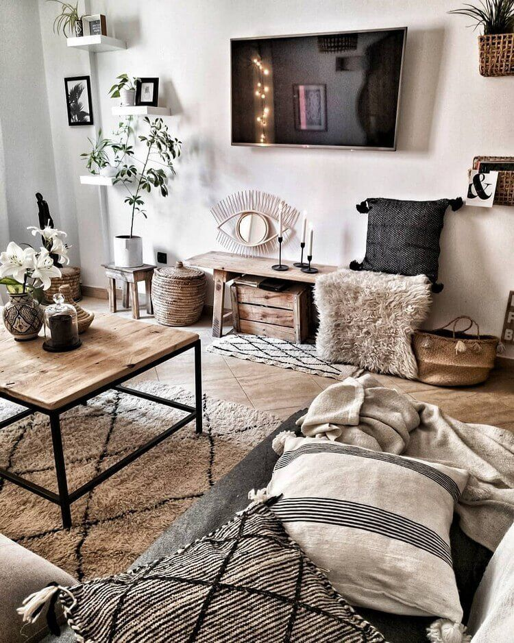 Here This Living Room Is Full Of Bohemian Stuff As You Can See In The The Image Mongolian Rug And Living Room Decor Modern Rustic Living Room Home Living Room What does living room means