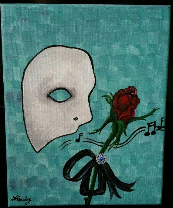 Phantom Of The Opera 8x10 Acrylic Painting Hand Original On Stapled Canvas Gift Idea Home Decor Collector It Painting Phantom Of The Opera Art Inspiration