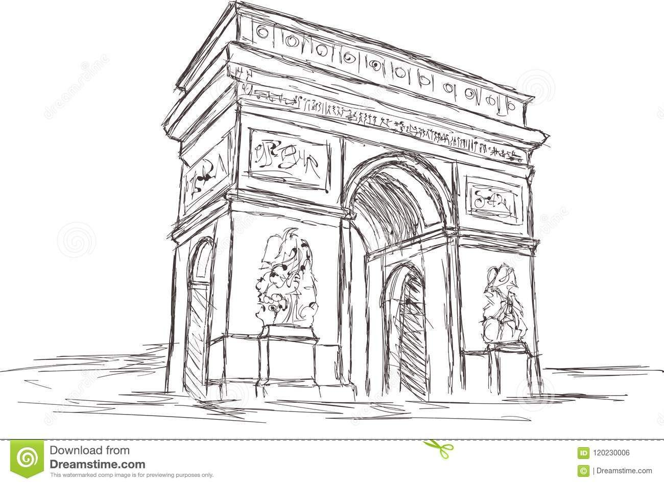 Arc De Triomphe Free Hand Sketch Drawing Paris France Stock
