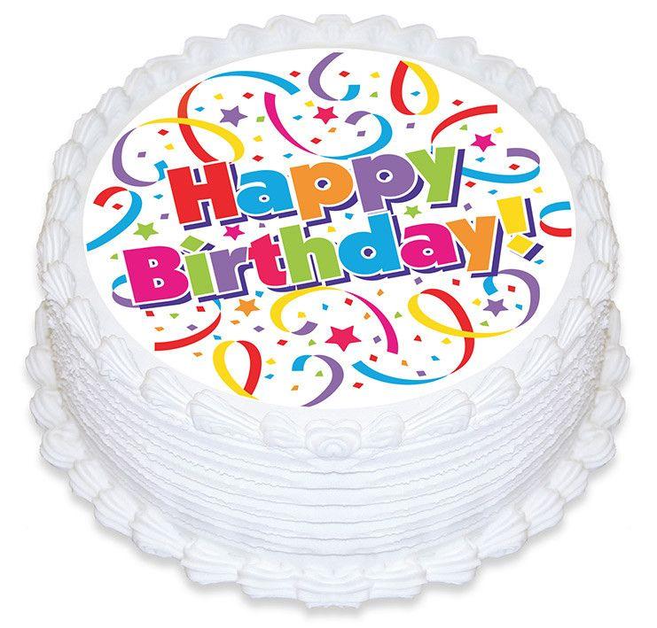 Happy Birthday Streamers Edible Cake Image