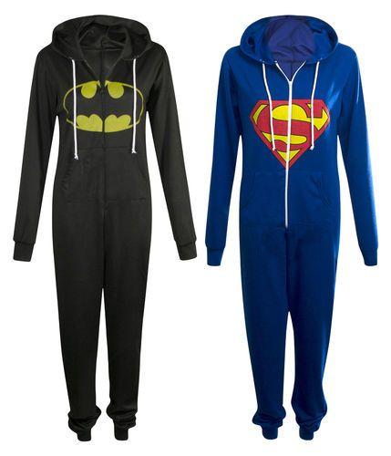 Unisex Batman Superman Logo Printed Onsie Womens Mens Hooded Zipped Jumpsuit