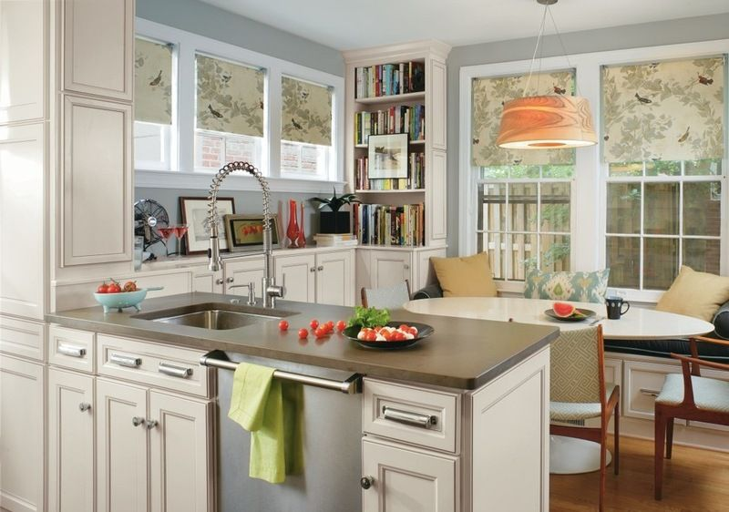 Transitional Kitchen By MasterBrand Cabinets, Inc. Roman Shades. Covering  The Window With A