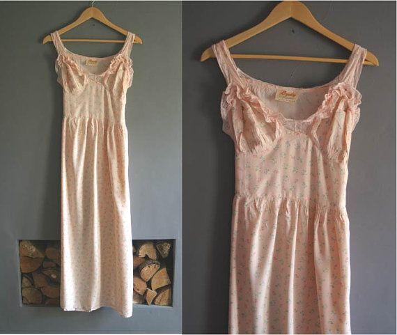 Vintage 1940s Night Dress in Peach Floral by VioletsAtticVintage, £24.00