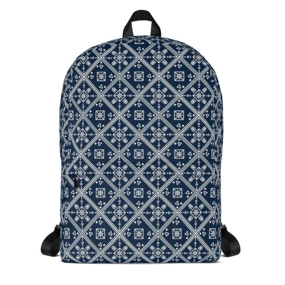 Blue batik all over backpack womens backpack purse