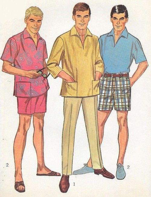 1960s Mens Casual Shirt Slim Pants and Bermuda Shorts ...