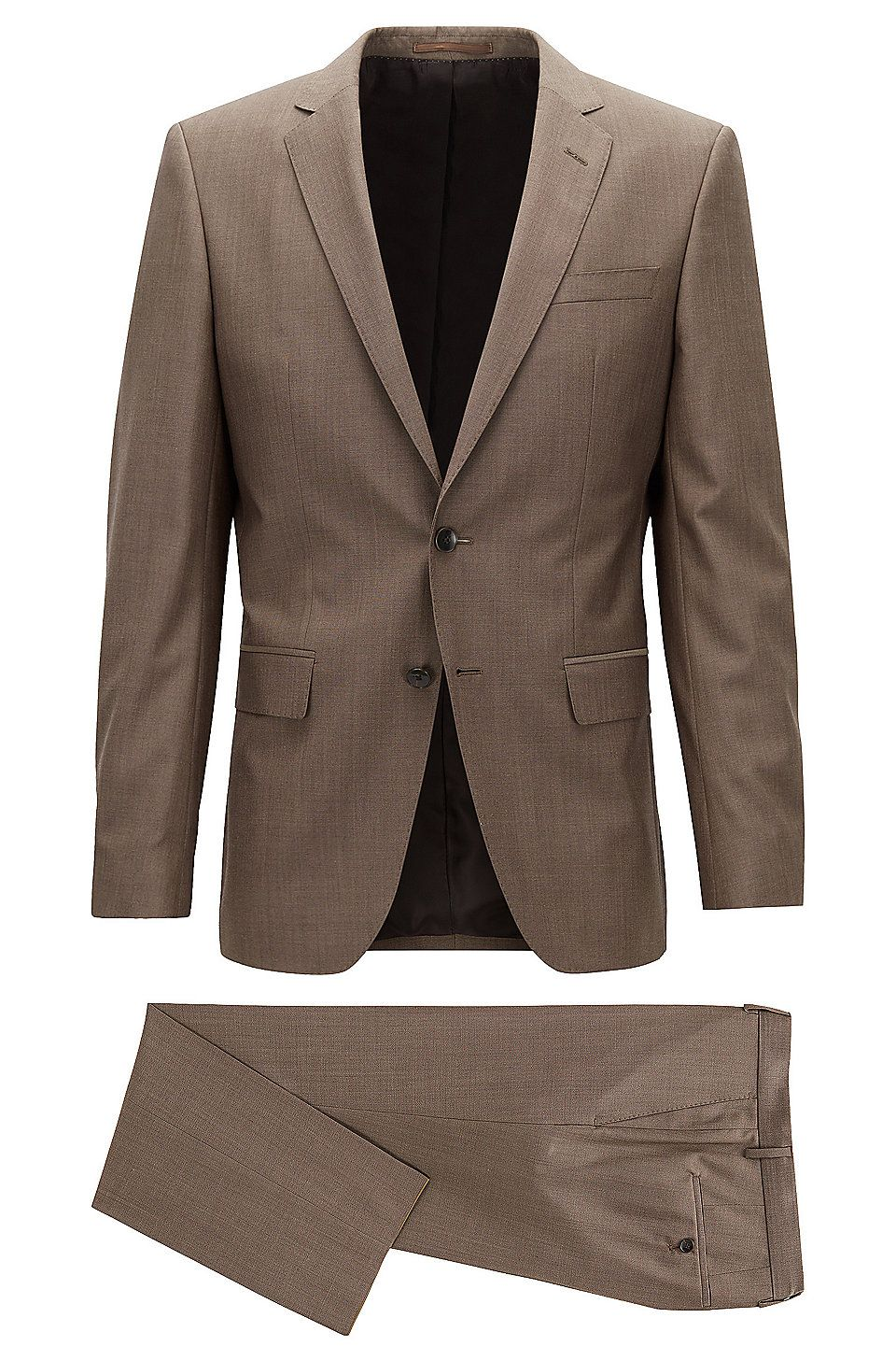 Italian Virgin Wool Suit, Slim Fit | Huge/Genius  Brown from BOSS for Men for $487.99 in the official HUGO BOSS Online Store free shipping