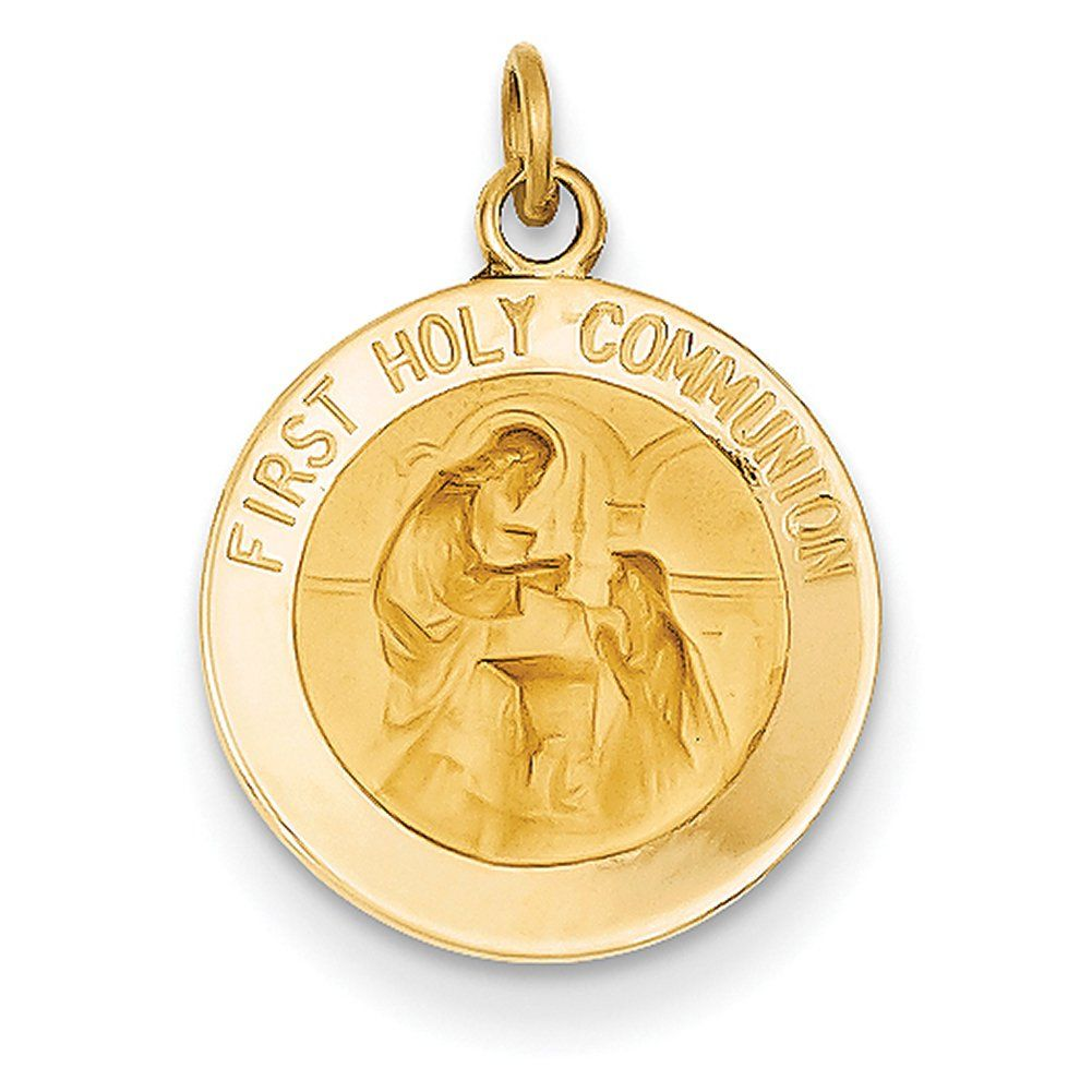 K yellow gold polished and satin first holy communion medal