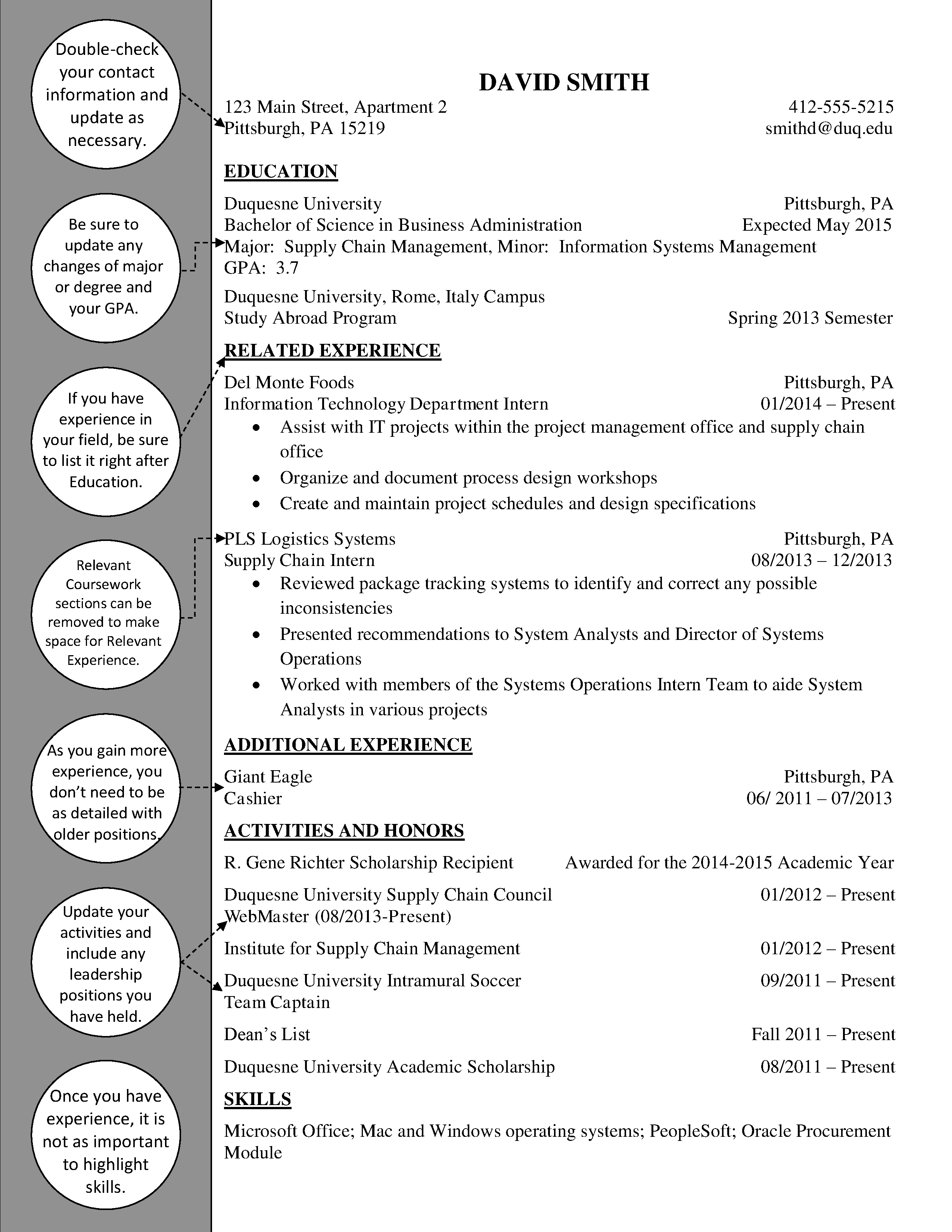 Supply Chain Upperclass Resume  Duquesne Resume  Cover Letter