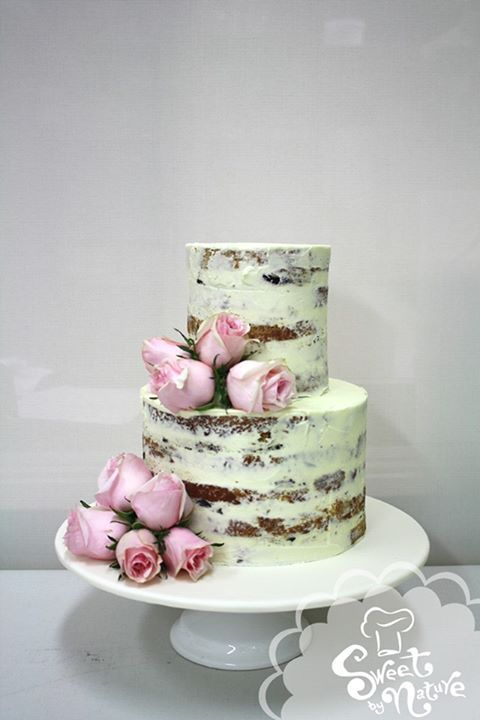 Naked Style Cake Finished With Fresh Pink Roses Love The