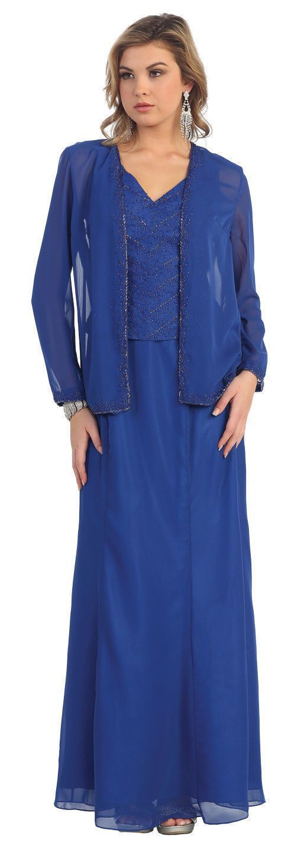 Photo of Modest of the Brud Ärmlös Chiffon Plus Formell klänning med jacka