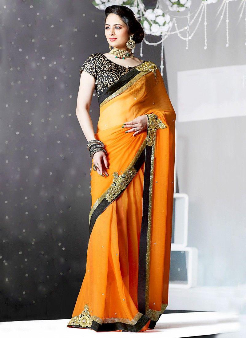 Peach color saree for wedding awesome orange faux georgette color saree  asain women  pinterest