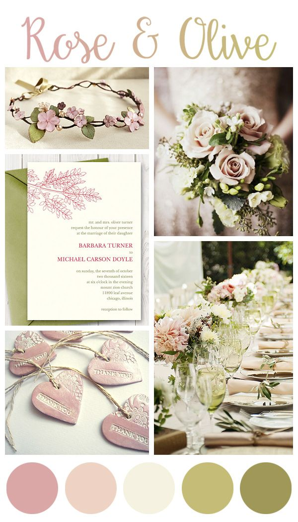 Rose and Olive green wedding inspiration board https://www.etsy.com ...