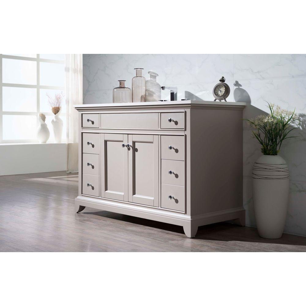 Stufurhome Arianny 49 Inw X 22 Ind X 335 Inh Vanity In Extraordinary White Bathroom Vanity Home Depot Design Inspiration