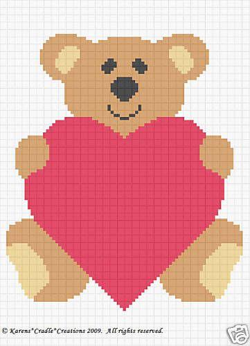 Bear Love Crochet Baby Afghan Graph Pattern Beginner Pinterest