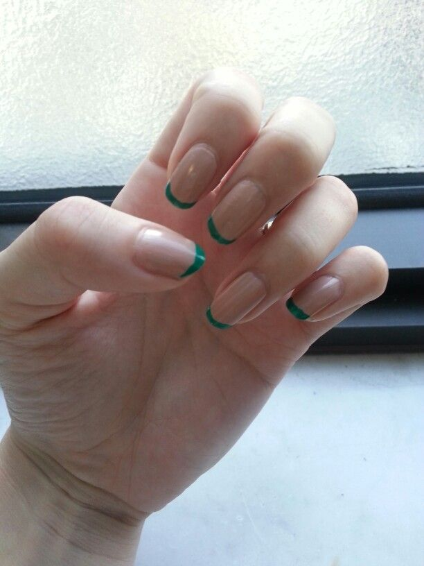 Nude nails green tips - I love the long nail bed! Looks far more ...