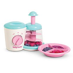 "OMG, how cute is this?!? :D Bitty Blender Set Your girl will make mealtime fun for her little one! She can open the lid on this make-believe baby food blender, add clusters of faux raspberries and blueberries, and turn the dial. When she pumps the handle, the berries spin about! When she's all done, she can serve Bitty Baby her delicious mixed-berry ""puree"" on a pretty pink feeding dish. $24"