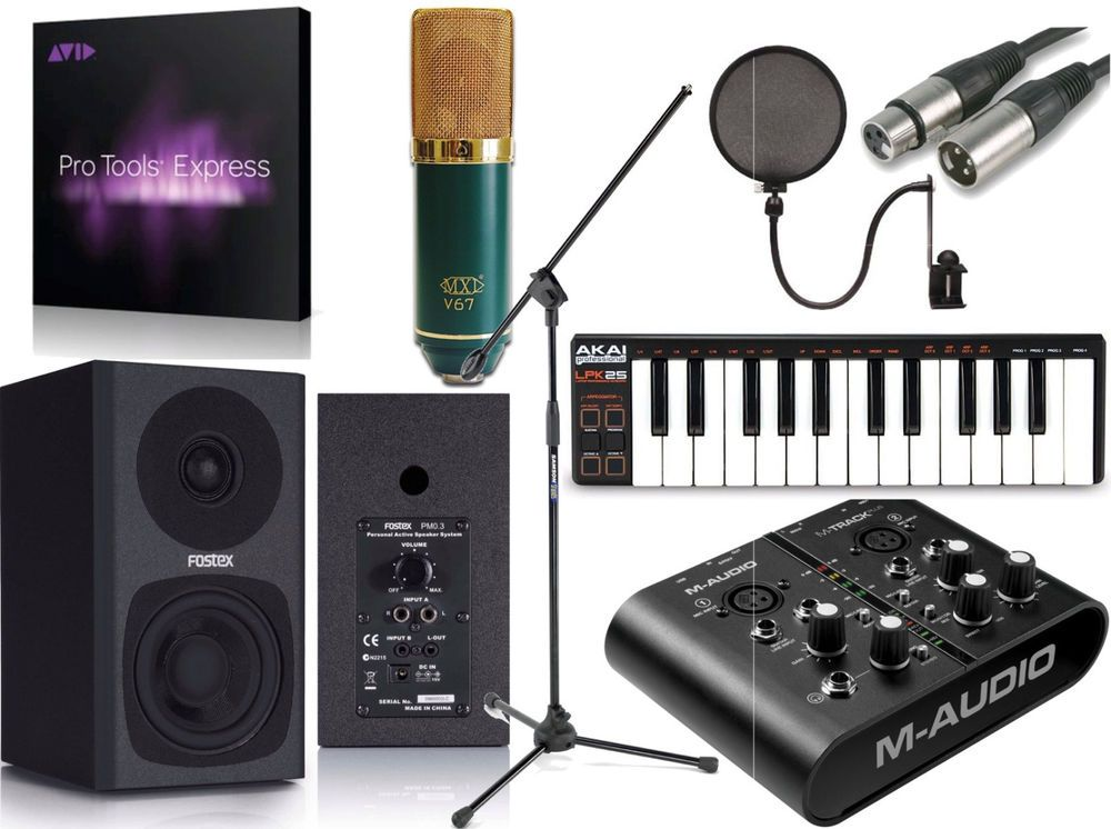 mtrack plus pro tools express home recording studio package bundle v67g music recording. Black Bedroom Furniture Sets. Home Design Ideas