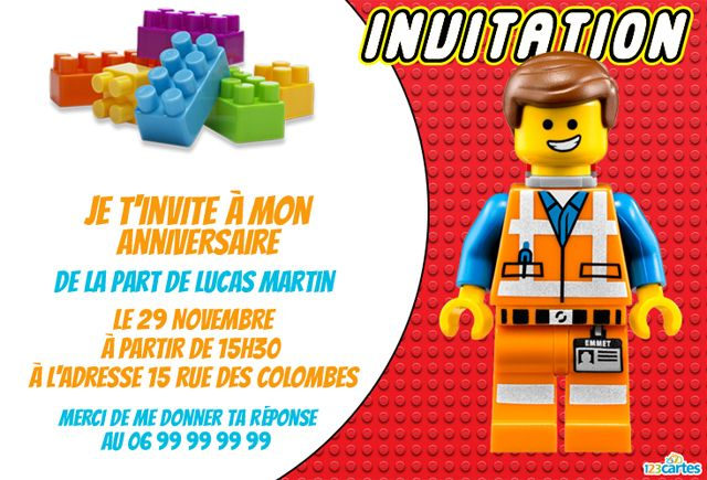 invitation anniversaire lego gratuite personnaliser et imprimer avec le personnage de emmet. Black Bedroom Furniture Sets. Home Design Ideas