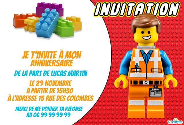 invitation anniversaire lego emmet