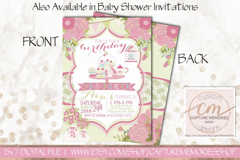 Tea Party Birthday Invitation|Girl Birthday Invitation|Tea Party ...