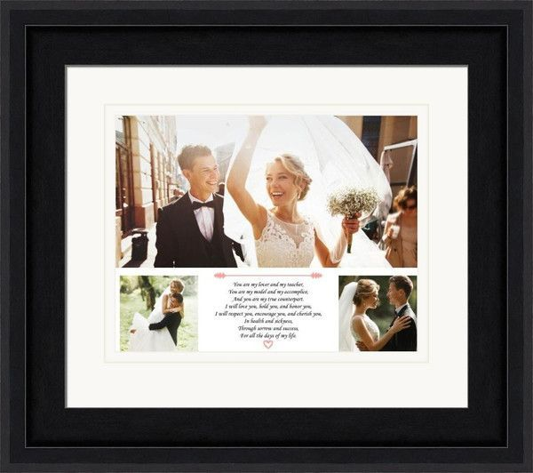 Three Wedding Photos And Your Wedding Vows Printed On Premium Paper And Framed Customized With Your Wedding Vow Art Wedding Frames First Wedding Anniversary