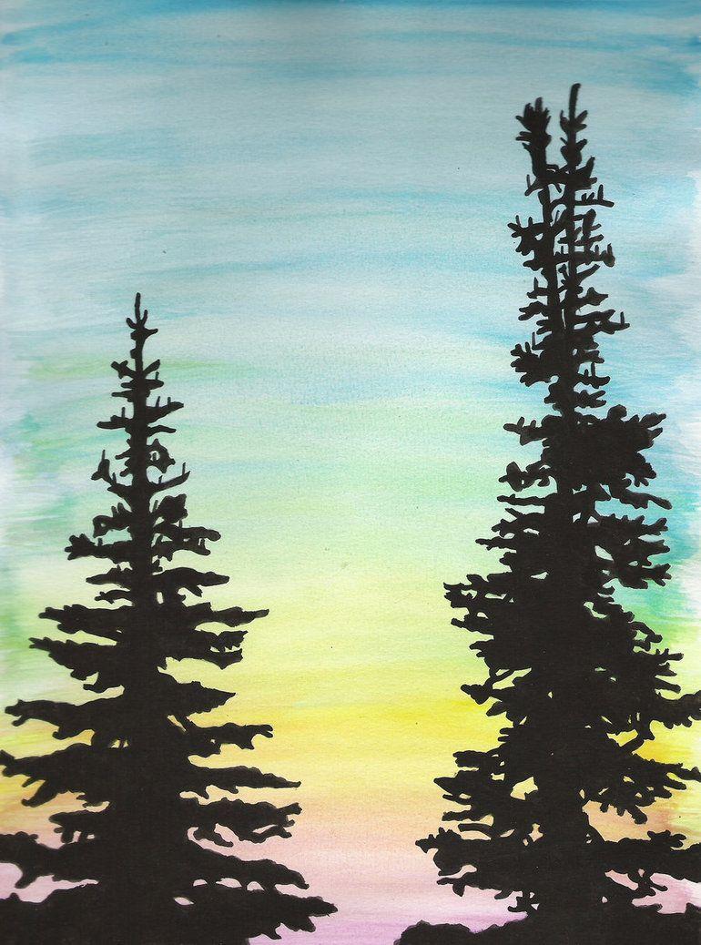 Tree Silhouette Painting : silhouette, painting, Trees, Silhouette, Noodooloo, Silhouette,, Painting,, Painting