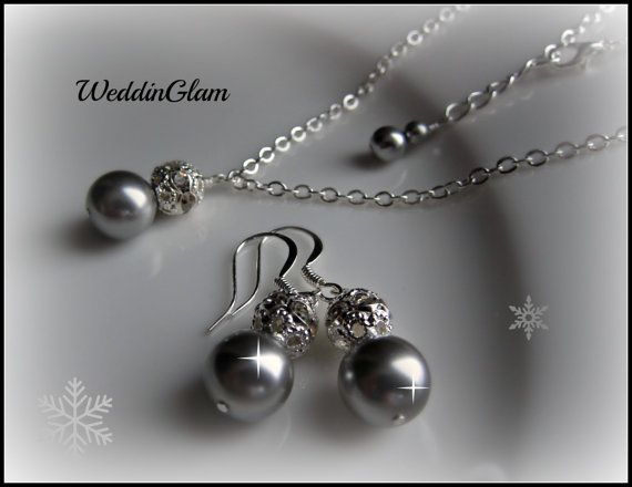 Bridesmaid Jewelry Sets. Silver Grey Pearl Set. Bridesmaid Jewellery Set. Grey Pearls Earrings Necklace Set, Vintage Inspired Jewelry Set
