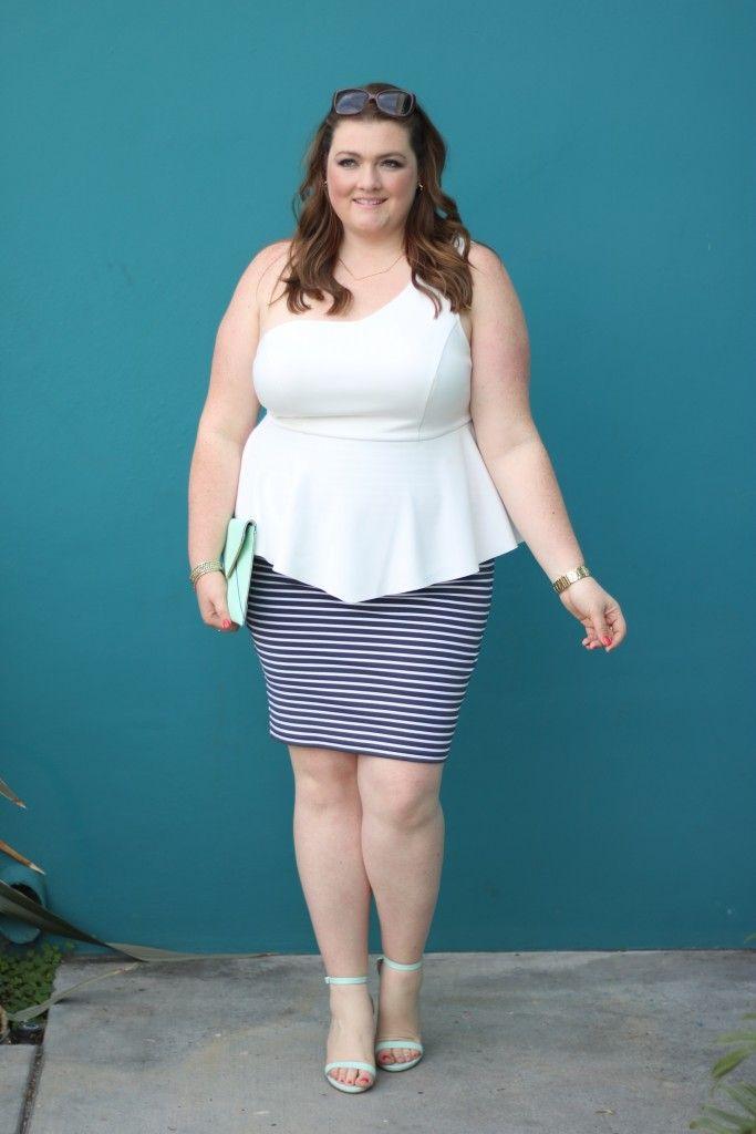749ed47a724 lovely in la sanctuary plus size curvy fashion striped skirt one shoulder  top peplum los angeles plus size blogger