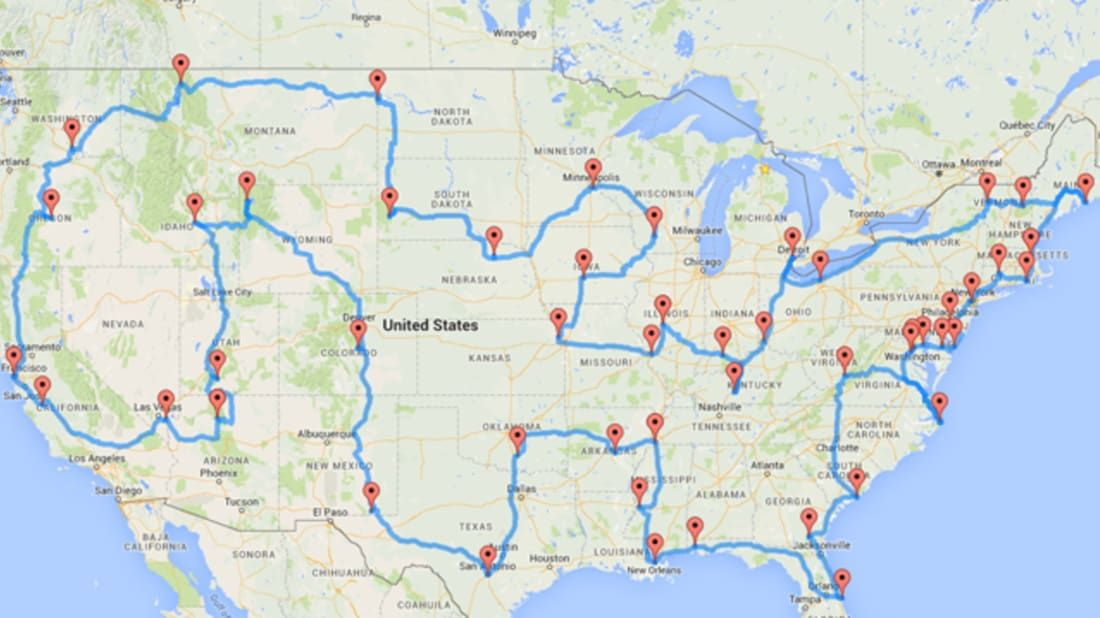 This Map Shows the Ultimate U.S. Road Trip