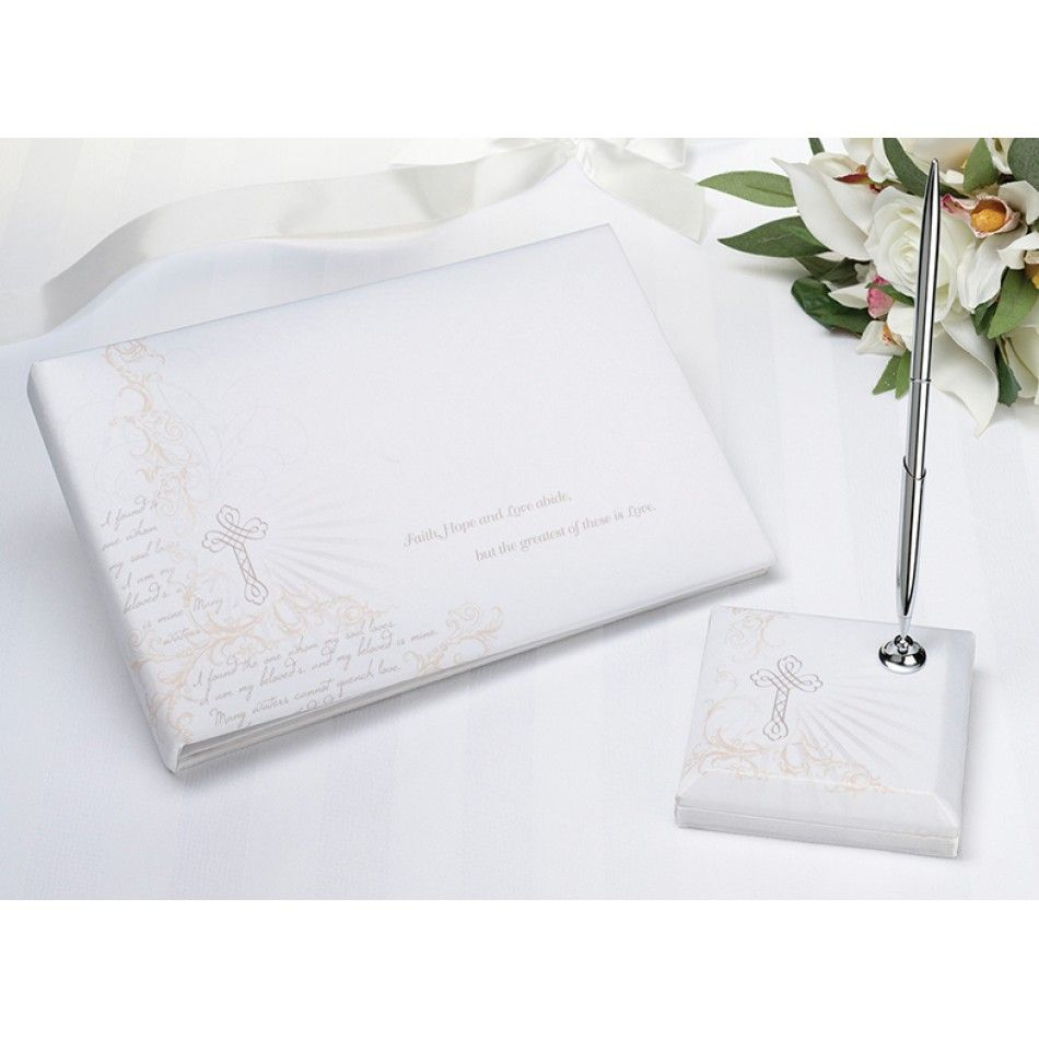 Christian Guest Book With Pen Set [576-GB322 Christian Guestbook ...