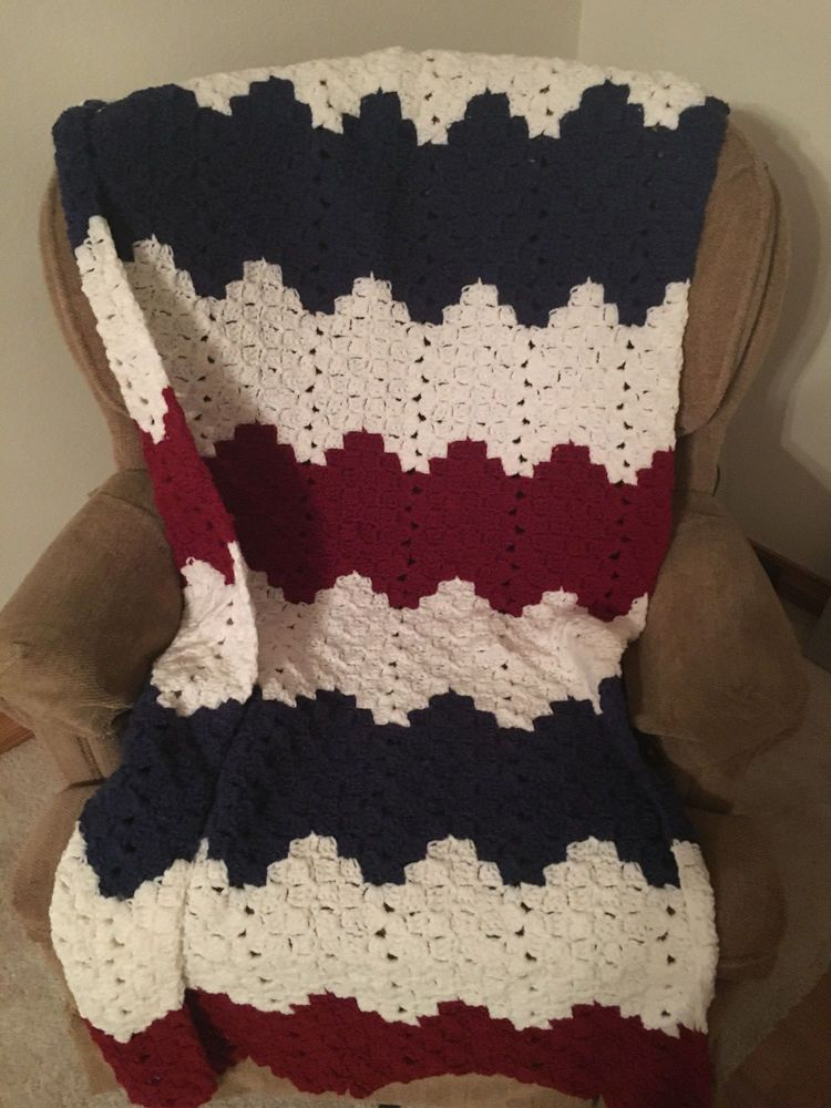 HANDMADE CROCHET AFGHAN/THROW RED WHITE AND BLUE (AMERICANA) -FREE SHIPPING #Americana