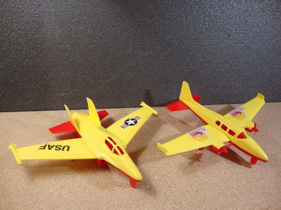 Pair of TimMee Toys Processed Plastic Airplanes USAF Jet and