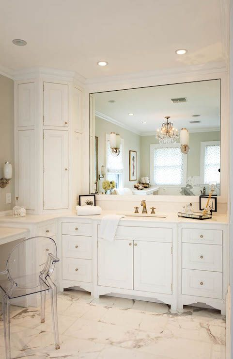 Stunning Bathroom With Wraparound Corner Vanity Featuring A Built In Dressing Table To The