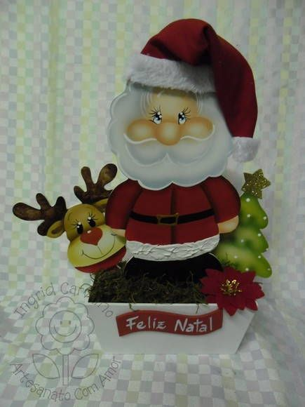 floreirão de noel com touca de tecido | Artesanatos Ingrid Carvalho | 193E47 - Elo7