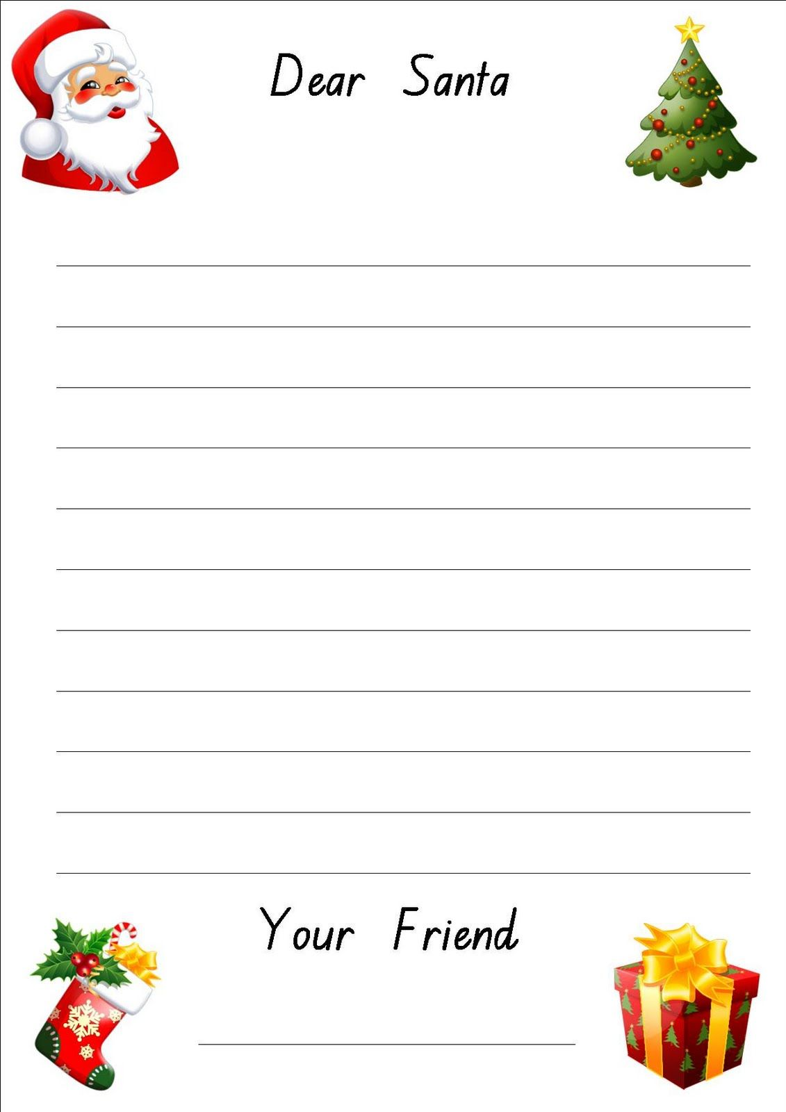 Lined Christmas Paper For Letters