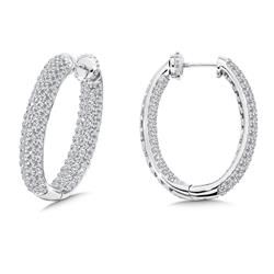 Locking 4-Row Reflection Diamond Hoops in 14K White Gold with Platinum Post | 2.95ct. tw.