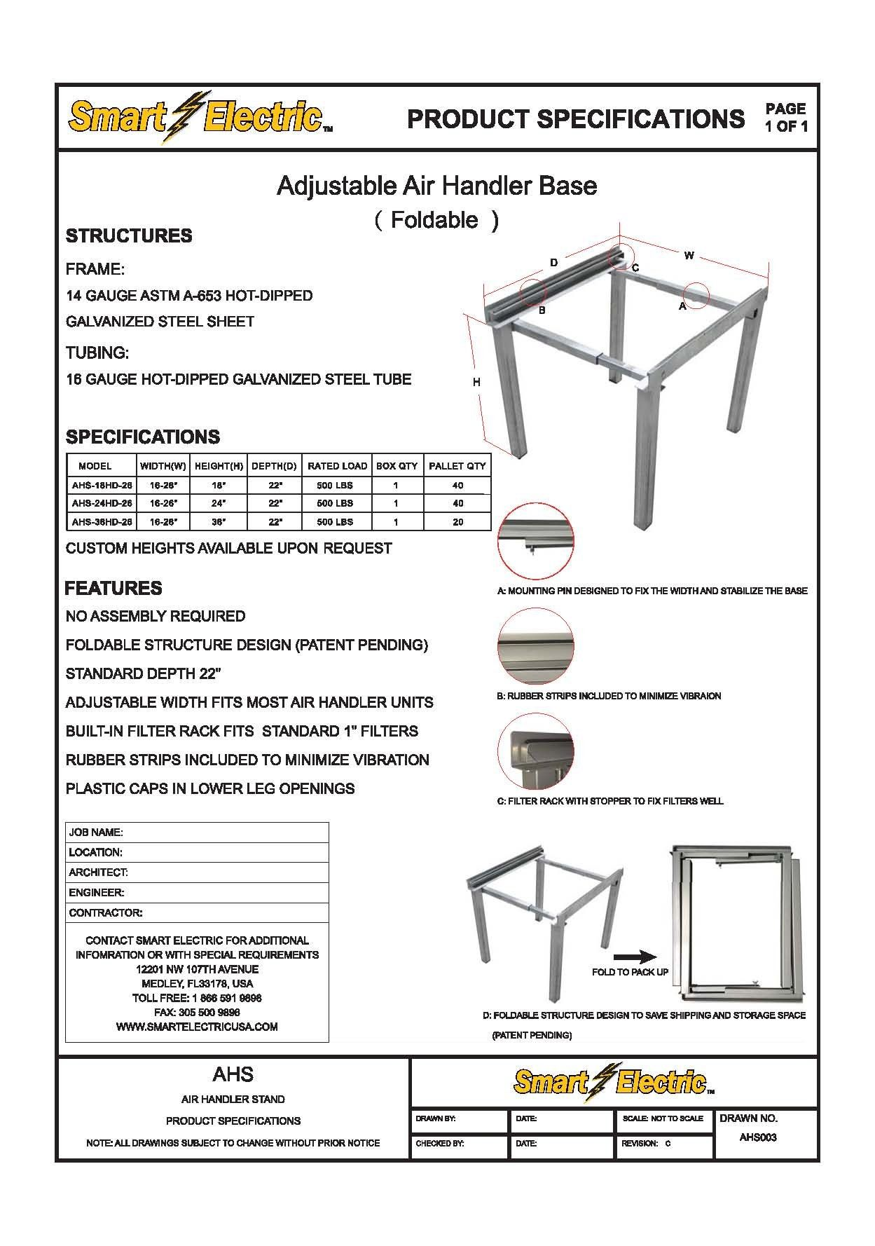 Adjustable Air Handler Stand 1626 Width Adjustment Ahs18hd26 Details Can Be Found By Clicking On T Room Air Conditioners Galvanized Steel Sheet Air Handler