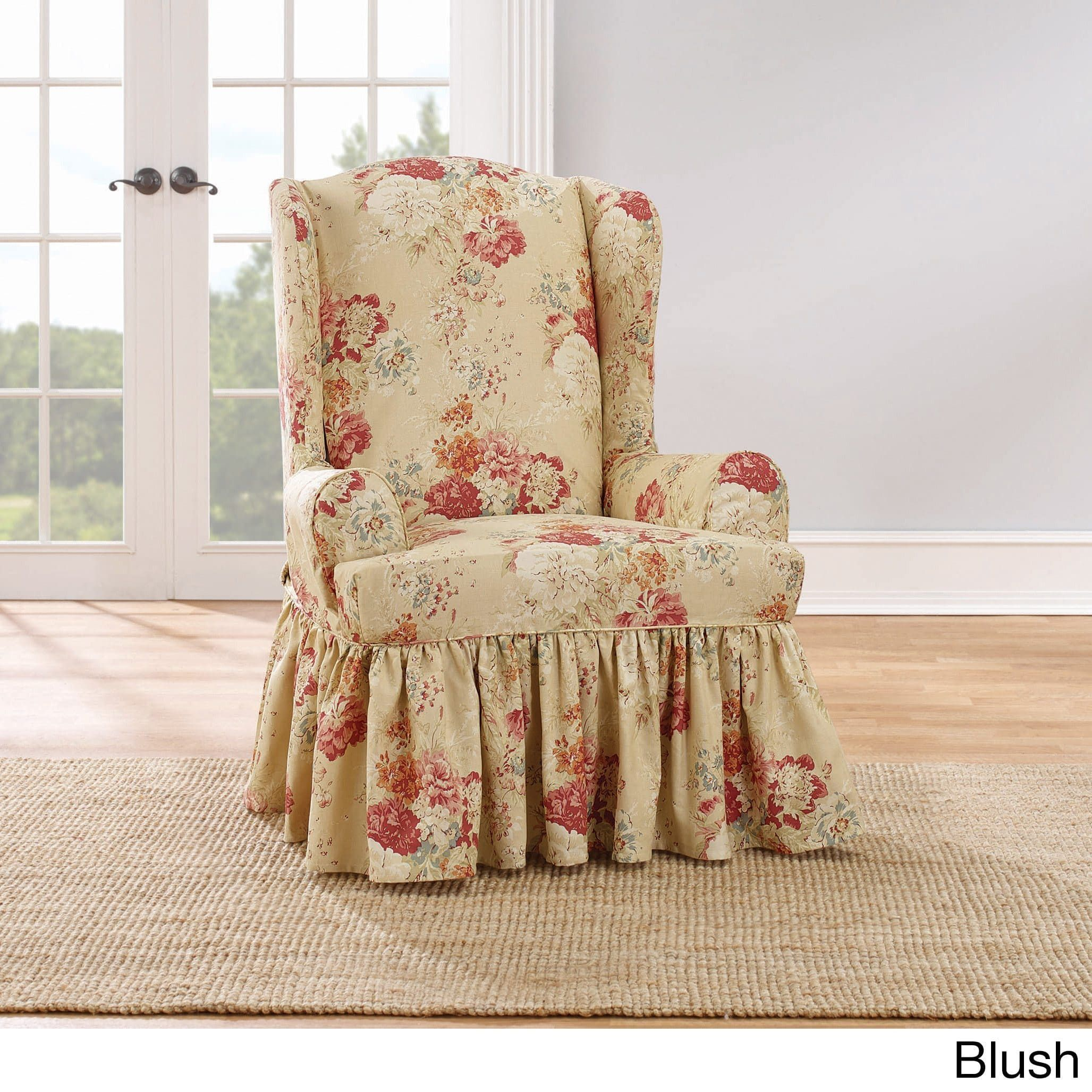 Admirable Sure Fit Ballad Bouquet Wing Chair Slipcover Wing Blush Alphanode Cool Chair Designs And Ideas Alphanodeonline